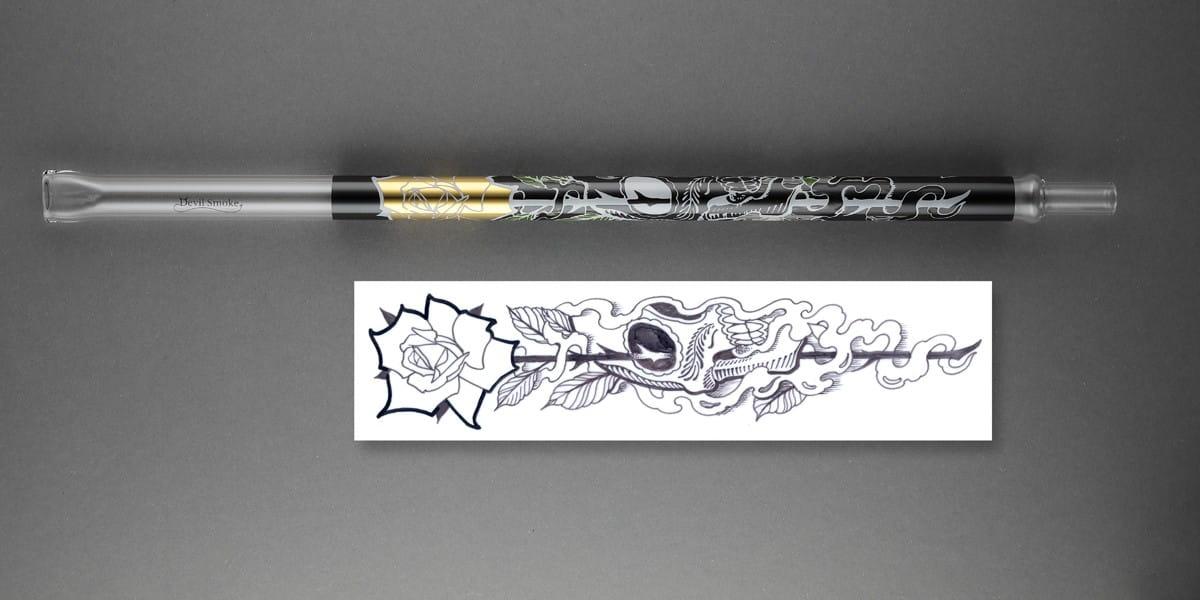 Devil Smoke Mundstück Tattoo Line - Skull Smoke Gold