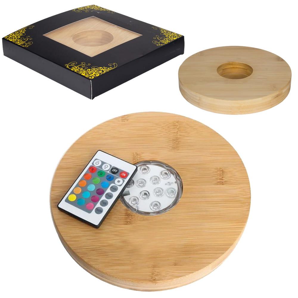 LED Holz-Untersetzer- 22 cm mit Fernbedienung